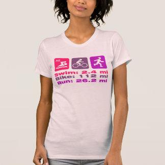 Roxo malva cor-de-rosa da senhora Triathlete Nadar Tshirts
