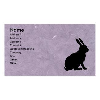 Roxo marmoreado do coelho silhueta preta cartões de visita