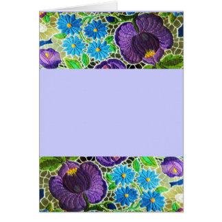 Roxo - olhar húngaro azul do bordado cartão