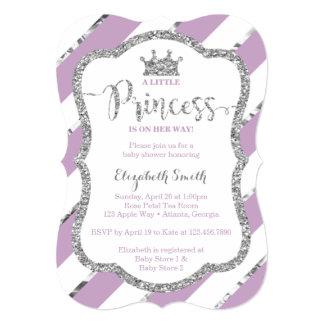 Roxo pequeno do convite da princesa chá de fraldas