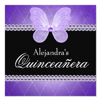 Roxo Quinceanera dos diamantes da borboleta Convite Quadrado 13.35 X 13.35cm