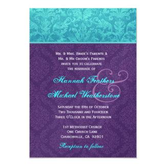 Roxo real e casamento tema damasco azul do Aqua Convite Personalizados
