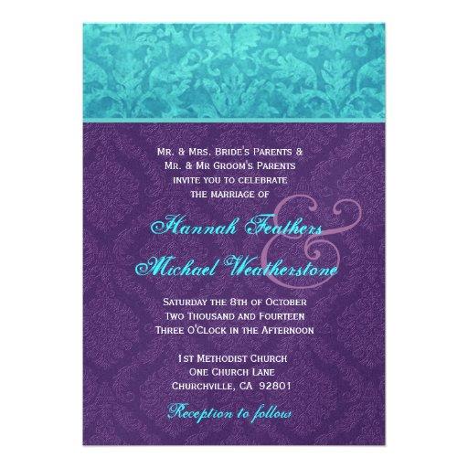 Roxo real e casamento tema damasco azul do Aqua me Convite Personalizados