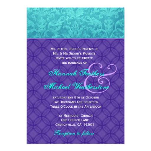 Roxo real e casamento tema damasco azul G500 do Aq Convites
