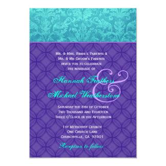 Roxo real e casamento tema damasco azul G500 do Convite 12.7 X 17.78cm
