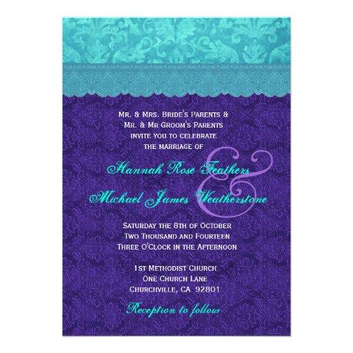 Roxo real e casamento tema damasco azul G500A do A Convites Personalizados