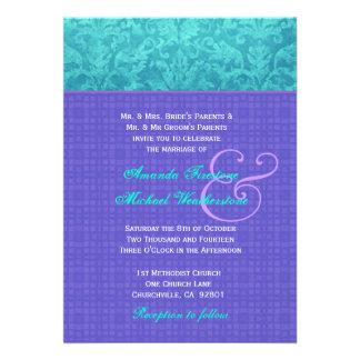 Roxo real e casamento tema damasco azul G500A do A Convites Personalizado