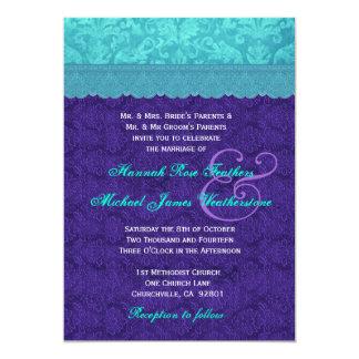 Roxo real e casamento tema damasco azul G500A do