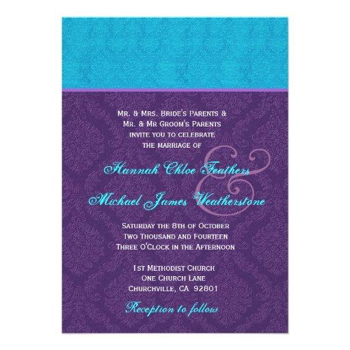 Roxo real e casamento tema damasco azul V2 do Aqua Convite