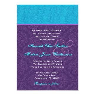 Roxo real e casamento tema damasco azul V2 do Aqua Convite 12.7 X 17.78cm