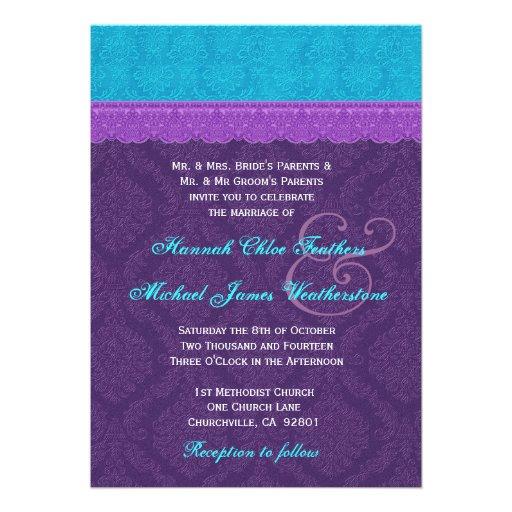 Roxo real e casamento tema damasco azul V3 do Aqua Convites Personalizado