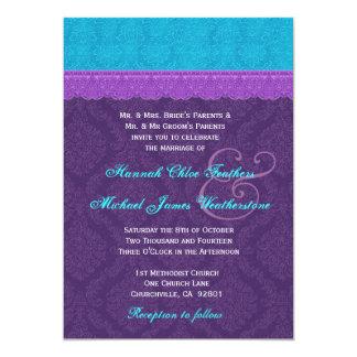 Roxo real e casamento tema damasco azul V3 do Aqua Convite 12.7 X 17.78cm