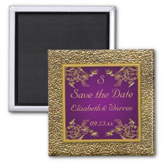 Roxo real e imã salve a data floral do ouro