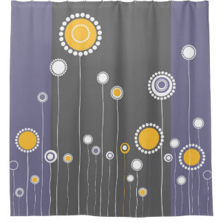 Roxo retro do teste padrão de flores cortina para box