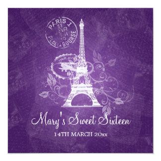 Roxo romântico de Paris do partido do doce Convite Quadrado 13.35 X 13.35cm