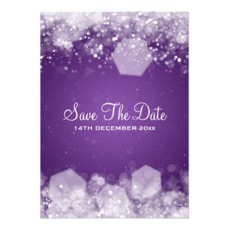 Roxo Sparkling da noite do casamento no inverno Convite