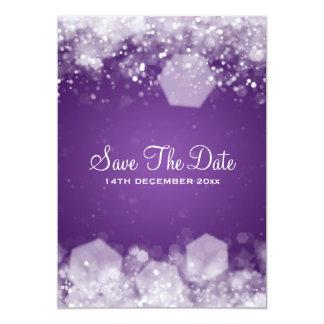 Roxo Sparkling da noite do casamento no inverno Convite 12.7 X 17.78cm
