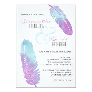 Roxo Wedding e azul da pena boémia de Boho Convite 12.7 X 17.78cm