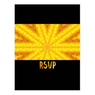 RSVP amarelo Cartoes Postais