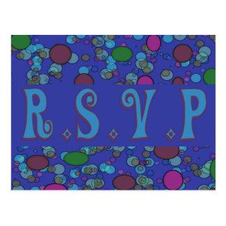 rsvp azul cartões postais