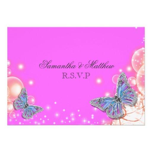 Rsvp azul roxo cor-de-rosa do casamento da borbole convite