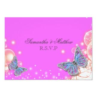 Rsvp azul roxo cor-de-rosa do casamento da convite 12.7 x 17.78cm