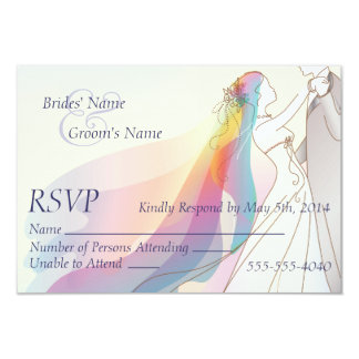 RSVP - Casamento da noiva & do noivo do arco-íris Convite 8.89 X 12.7cm