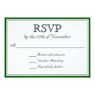 RSVP clássico com beira verde escuro Convite 8.89 X 12.7cm