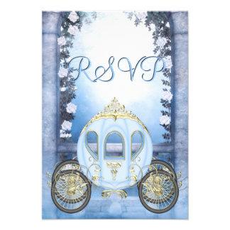 RSVP da princesa Carruagem Enchanted azul Convite Personalizados