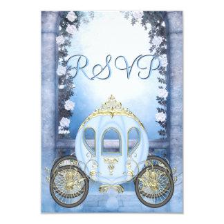 RSVP da princesa Carruagem Enchanted azul Convite 8.89 X 12.7cm