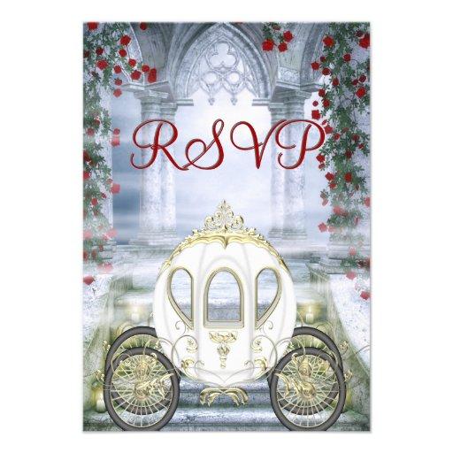 RSVP da princesa Carruagem Enchanted branca Convite Personalizado