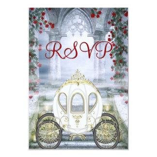 RSVP da princesa Carruagem Enchanted branca Convite 8.89 X 12.7cm