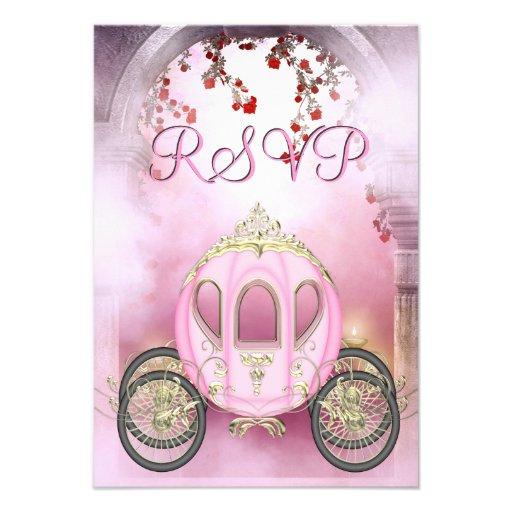 RSVP da princesa Carruagem Enchanted cor-de-rosa Convites Personalizado