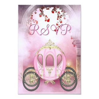 RSVP da princesa Carruagem Enchanted cor-de-rosa Convite 8.89 X 12.7cm