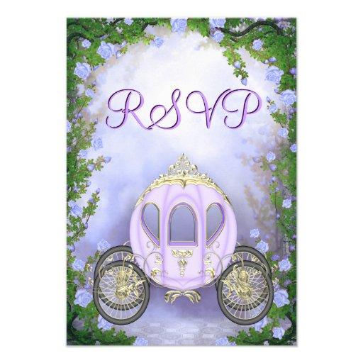 RSVP da princesa Carruagem Enchanted roxa Convites Personalizado