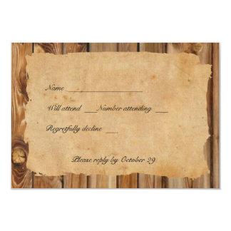 Rsvp de madeira do coração do pergaminho com convite 8.89 x 12.7cm