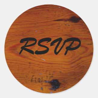 Rsvp de madeira velho adesivos redondos