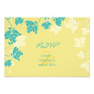 Rsvp de PixDezines tropical amarelo+flores do aqua Convites Personalizado