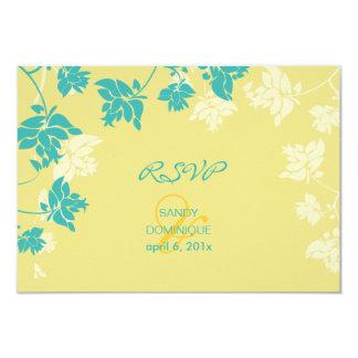 Rsvp de PixDezines tropical/amarelo+flores do aqua Convites Personalizado