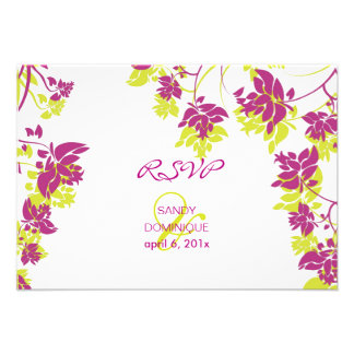 Rsvp de PixDezines tropical verde+flores do fuschi Convites