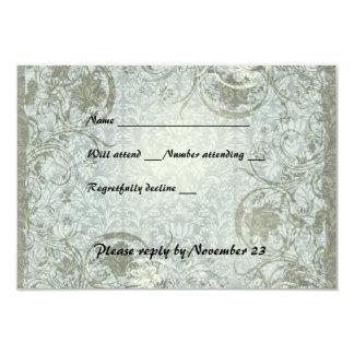 Rsvp do damasco das cinzas azuis do poema do amor convite 8.89 x 12.7cm