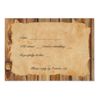 Rsvp esfarrapado madeira do coração do pergaminho convite 8.89 x 12.7cm