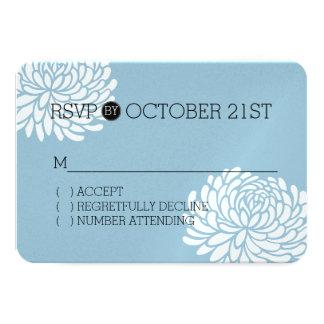 RSVP floral branco e azul Convite 8.89 X 12.7cm