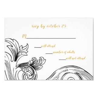 Rsvp floral delicado elegante dos convites do