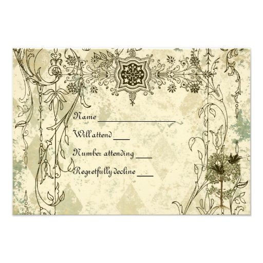 Rsvp italiano do Verdigris do vintage com envelope Convite Personalizado