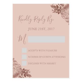 RSVP - O ouro cor-de-rosa cora cartão cor-de-rosa