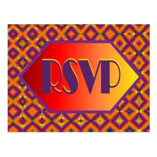 rsvp roxo alaranjado cartões postais