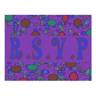 rsvp roxo cartão postal