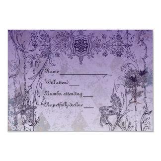 Rsvp roxo do unicórnio do vintage com envelopes convite 8.89 x 12.7cm