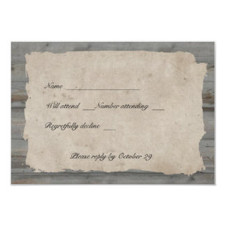 Rsvp rústico de madeira do país do pergaminho com convite 8.89 x 12.7cm